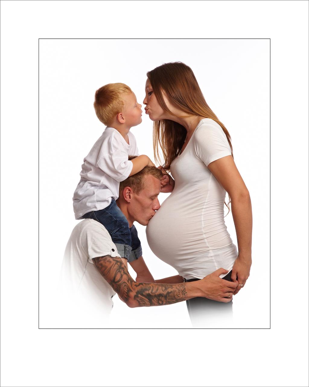 Gravid, mave billeder, highkey, mor, far og børn, kærlighed